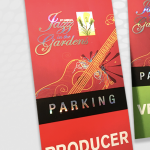 Hot Foil Stamped Jazz Parking Passes
