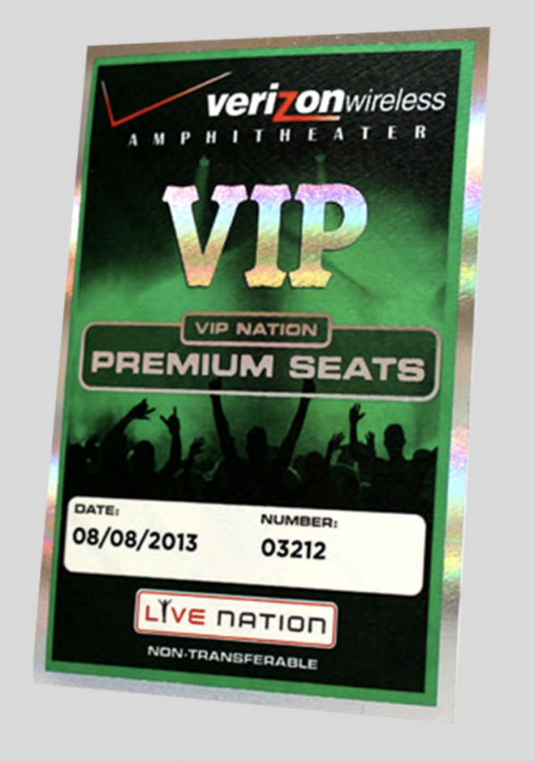 Hot Foil Stamped VIP Satin Stick On Passes